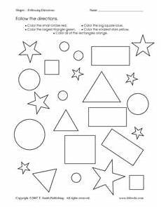 following directions worksheets kindergarten 11712 shapes following directions worksheet for kindergarten 1st grade lesson planet