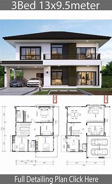3 bedroom modern house plans house design plan 13x9 5m with 3 bedrooms house plans 3d