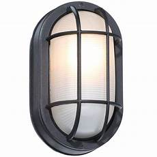 hton bay black outdoor oval bulkhead wall light hb8822p 05 the home depot