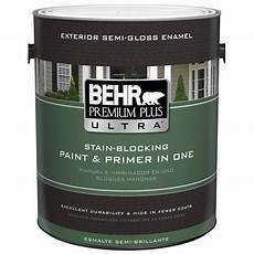 behr premium plus ultra 1 gal medium base gloss enamel exterior paint 585401 the home depot