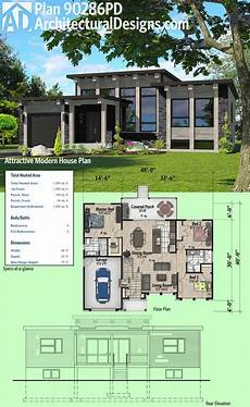 modern house design with floor plan in the philippines plan 90286pd attractive modern house plan in 2020 house
