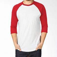 kaos merah putih jual kaosyes kaos polos t shirt raglan lengan 3 4 putih merah online harga kualitas terjamin