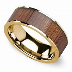 wide koa inlay men s wedding ring in yellow gold