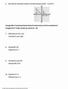 geometry worksheet composition of transformations by my geometry world