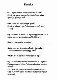 science worksheets on density 12177 density worksheet for gcse maths science teaching resources