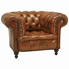 antique chesterfield chair in original leather for sale at