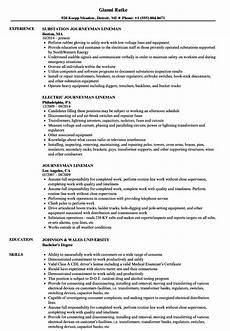 journeyman lineman resume sles velvet
