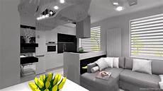 salon z jadalnią projekt meble kuchenne salon jadalnia w bloku k a
