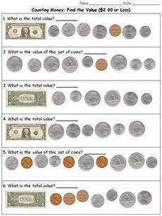 money worksheets up to 1 00 2353 money find the value 2 00 or less counting dollars and coins practice sheets
