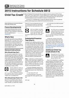 instructions for schedule 8812 child tax credit 2015