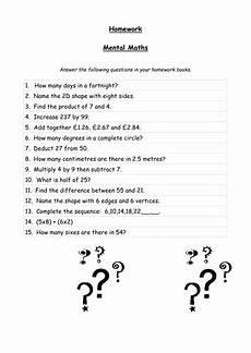mental maths homework sheets teaching resources