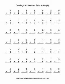single digit addition math worksheet single digit a