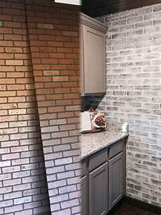 Wall Panels For Kitchen Backsplash Before And After Lowes Brick Panel Painted White Brick