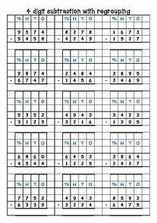 subtraction worksheets with grid lines 10162 subtraction 3 and 4 digit with without trading borrowing on grid paper