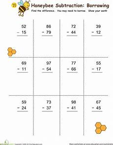 simple subtraction with regrouping worksheets 10710 subtraction with borrowing honeybees print 2 and for