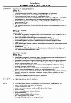 executive driver resume sles velvet
