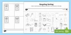 recycling sorting worksheet enviroweek teacher made