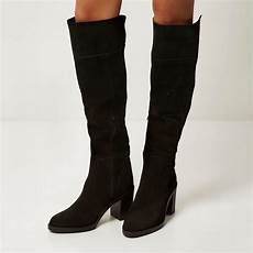 river island black suede knee high boots lyst