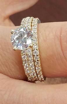 yellow gold 14k man made diamond engagement ring s wedding band tradesy