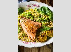 salmon with couscous vegetable salad_image