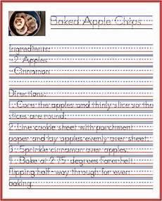 riggs handwriting worksheets 21556 baked apple chips recipe handwriting practice from startwrite apple chips baked apple chips