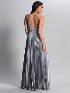 Elegante Geraffte Bestickte Abendkleider Silber Lang Mit