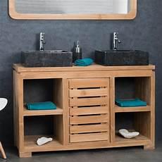 meuble en meuble salle de bain en teck massif 120 cm