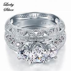 other engagement wedding 1 carat vintage style victorian art deco solid 925 sterling silver