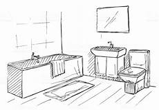 Bathroom Ideas Drawing by Sketch Linear Sketch Of An Interior Part Of The