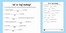 ed or ing ending worksheet ed and ing ed or ing suffixes worksheet