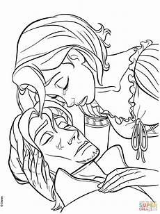rapunzel s tear heals flynn coloring page free printable