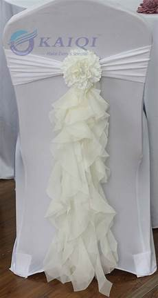 sale hot sale 10pcs ivory chiffon chair sash with tie for wedding party banquet decoration