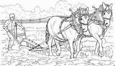 Ausmalbilder Bauernhof Mit Pferden Pferde Ziehen Pflug Ausmalbild Malvorlage Bauernhof