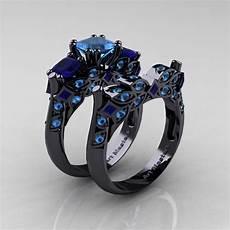 black gold wedding ring with sapphire designer classic 14k black gold three stone princess blue topaz blue sapphire engagement ring