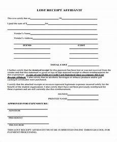 lost receipt template free 8 lost affidavit form sles in sle exle format