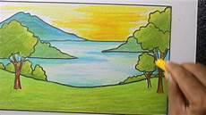 Menggambar Pemandangan Danau Yang Mudah Dengan Crayon