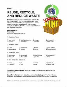 recycling worksheets middle school education world internet scavenger hunt world of recycle