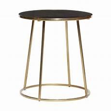 Table Basse Marbre Ronde Table Basse Ronde Metal Dore Marbre Noir Hubsch 670320