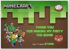 minecraft thank you card template minecraft thank you card birthday minecraft