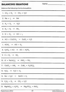 physical science balancing equations worksheet 13078 printables of balancing equations worksheet physical science if8767 geotwitter activities