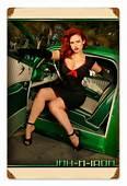 Vintage Green Car Pinup  Pin Up Girl Metal Sign 12 X 18