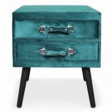 table de chevet miliboo 103257 table de chevet 2 tiroirs velours quot strano quot 55cm vert