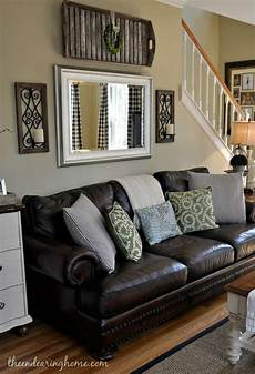 Home Decor Ideas With Brown Couches by Brown Leather Living Room Decoration Adding A