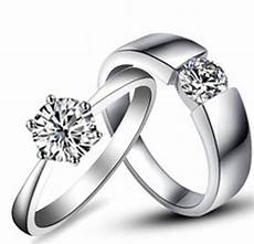 amazing design real solid 18k 750 white gold couple rings simulates diamond lover s wedding