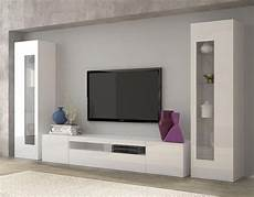 daiquiri modern tv and display wall unit in white gloss finish lights inclided living room in