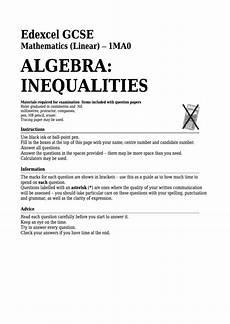 algebra worksheets gcse 8417 edexcel gcse mathematics linear algebra inequalities printable pdf