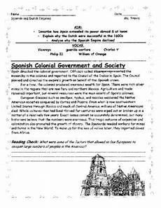 age of discovery and empires student guided reading and worksheet quiz from
