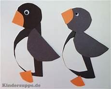 kreis pinguine basteln mit formen kindergarten basteln