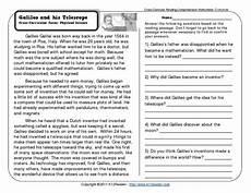 reading comprehension worksheets third grade galileo