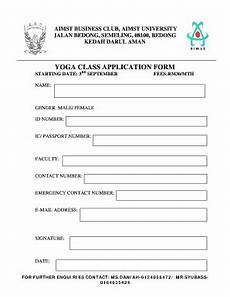 admission form for yoga class fill online printable fillable blank pdffiller